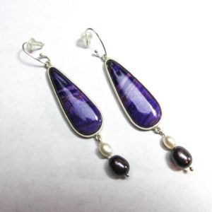 Shop Sugilite Earrings! Sterling silver earrings by Link Wachler. Teardrop Sugilite, white pearls, black pearls. | Natural genuine Sugilite earrings. Buy crystal jewelry, handmade handcrafted artisan jewelry for women.  Unique handmade gift ideas. #jewelry #beadedearrings #beadedjewelry #gift #shopping #handmadejewelry #fashion #style #product #earrings #affiliate #ad