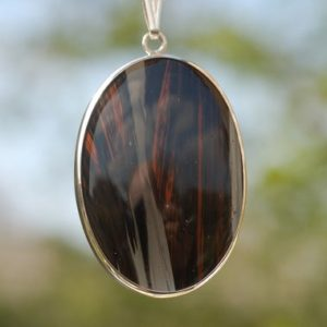 Shop Mahogany Obsidian Jewelry! Sterling Silver USA mahogany obsidian Pendant Necklace hallmarked-37c | Natural genuine Mahogany Obsidian jewelry. Buy crystal jewelry, handmade handcrafted artisan jewelry for women.  Unique handmade gift ideas. #jewelry #beadedjewelry #beadedjewelry #gift #shopping #handmadejewelry #fashion #style #product #jewelry #affiliate #ad
