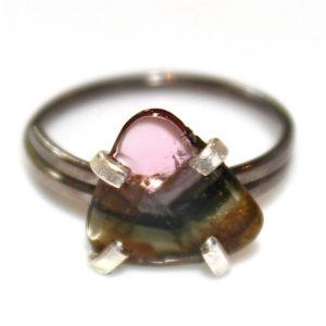 Shop Watermelon Tourmaline Rings! Striped Watermelon Tourmaline Ring Black Gold Vermeil Ring Adjustable Watermelon Tourmaline Slice Tourmaline Jewelry Triangle Ring Trendy | Natural genuine Watermelon Tourmaline rings, simple unique handcrafted gemstone rings. #rings #jewelry #shopping #gift #handmade #fashion #style #affiliate #ad