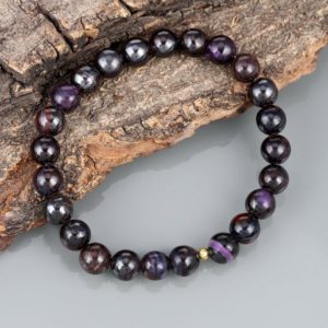 Shop Sugilite Bracelets! Dark Sugilite Bracelet Sugilite Beads Smooth Round Stone Jewelry Dark Sugilite Beads Handmade Sugilite Gift Bracelet 925 Sterling Silver | Natural genuine Sugilite bracelets. Buy crystal jewelry, handmade handcrafted artisan jewelry for women.  Unique handmade gift ideas. #jewelry #beadedbracelets #beadedjewelry #gift #shopping #handmadejewelry #fashion #style #product #bracelets #affiliate #ad