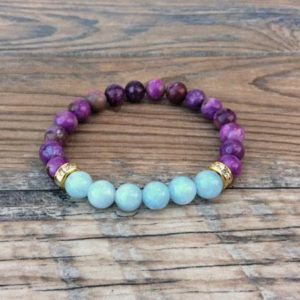 Shop Sugilite Bracelets! Sugilite Bracelet Featuring Aquamarine | Natural genuine Sugilite bracelets. Buy crystal jewelry, handmade handcrafted artisan jewelry for women.  Unique handmade gift ideas. #jewelry #beadedbracelets #beadedjewelry #gift #shopping #handmadejewelry #fashion #style #product #bracelets #affiliate #ad