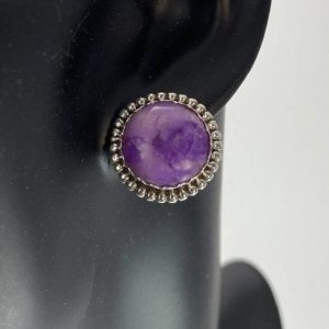 Shop Sugilite Earrings! Sugilite Button Post Earrings | Natural genuine Sugilite earrings. Buy crystal jewelry, handmade handcrafted artisan jewelry for women.  Unique handmade gift ideas. #jewelry #beadedearrings #beadedjewelry #gift #shopping #handmadejewelry #fashion #style #product #earrings #affiliate #ad