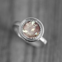 14k Palladium White Gold And Oregon Sunstone Halo Ring, Vintage Inspired Engagement Ring With Milgrain Detail, Made To Order | Natural genuine Gemstone jewelry. Buy handcrafted artisan wedding jewelry.  Unique handmade bridal jewelry gift ideas. #jewelry #beadedjewelry #gift #crystaljewelry #shopping #handmadejewelry #wedding #bridal #jewelry #affiliate #ad