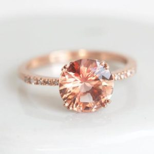 Oregon Sunstone & Diamond Ring, Peach Champagne Sunstone Engagement Ring in 14k or 18k Solid Gold | Natural genuine Sunstone rings, simple unique alternative gemstone engagement rings. #rings #jewelry #bridal #wedding #jewelryaccessories #engagementrings #weddingideas #affiliate #ad