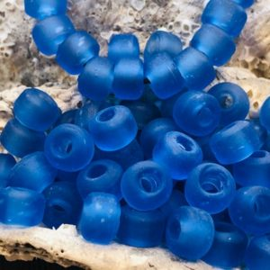 Shop Beads With Large Holes! Supply: 50 Blue Seaglass Crow Roller Beads – Macrame Beads – Large Hole Beads / glass Beads . {o3-1570#01832} | Shop jewelry making and beading supplies, tools & findings for DIY jewelry making and crafts. #jewelrymaking #diyjewelry #jewelrycrafts #jewelrysupplies #beading #affiliate #ad
