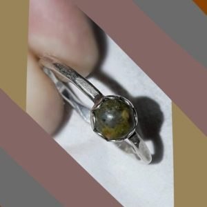 Shop Rainforest Jasper Rings! Sweet Petite Rainforest Jasper Cabochon Sterling Silver Stackable Ring Size 8 / Genuine 1960s Flower Child Ring with Petaled Bezel Setting   Natural genuine Rainforest Jasper rings, simple unique handcrafted gemstone rings. #rings #jewelry #shopping #gift #handmade #fashion #style #affiliate #ad