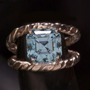 Swiss Blue Topaz Asscher Cut Engagement Ring, Unique Engagement Ring, Anniversary Ring for Wife, Statement Ring, Bold Jewelry | Natural genuine Gemstone rings, simple unique alternative gemstone engagement rings. #rings #jewelry #bridal #wedding #jewelryaccessories #engagementrings #weddingideas #affiliate #ad