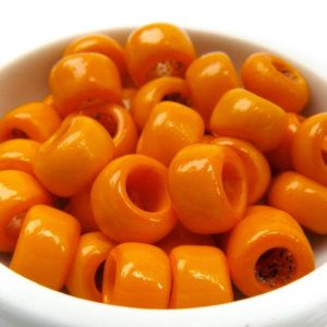 Shop Beads With Large Holes! Tangerine Orange Vintage Antique Italian Venetian Opaque Glass 7mm Small Crow Beads Macrame Large Hole 10 Grams | Shop jewelry making and beading supplies, tools & findings for DIY jewelry making and crafts. #jewelrymaking #diyjewelry #jewelrycrafts #jewelrysupplies #beading #affiliate #ad