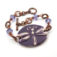 Purple Dragonfly Bracelet, Tanzanite Crystal Beads, Copper, 7 3 / 4 Inches Long, Fits 6 1 / 4 Inch Wrist | Natural genuine Gemstone jewelry. Buy crystal jewelry, handmade handcrafted artisan jewelry for women.  Unique handmade gift ideas. #jewelry #beadedjewelry #beadedjewelry #gift #shopping #handmadejewelry #fashion #style #product #jewelry #affiliate #ad