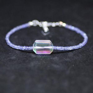 Shop Tanzanite Bracelets! Rainbow Quartz and Natural Tanzanite Bracelet Sterling Silver, December Birthstone , 8th 24th Anniversary , Healing Gems , from Canada | Natural genuine Tanzanite bracelets. Buy crystal jewelry, handmade handcrafted artisan jewelry for women.  Unique handmade gift ideas. #jewelry #beadedbracelets #beadedjewelry #gift #shopping #handmadejewelry #fashion #style #product #bracelets #affiliate #ad