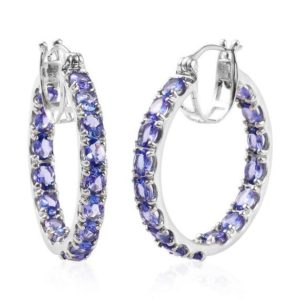 Shop Tanzanite Earrings! Genuine Tanzanite Inside Out Hoop Earrings in Platinum Over Sterling Silver (8 g) 5.45 ctw Tanzanite Earring Engagement Gift Gift For HER | Natural genuine Tanzanite earrings. Buy handcrafted artisan wedding jewelry.  Unique handmade bridal jewelry gift ideas. #jewelry #beadedearrings #gift #crystaljewelry #shopping #handmadejewelry #wedding #bridal #earrings #affiliate #ad