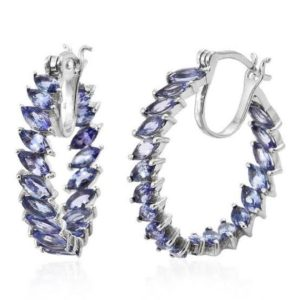 Shop Tanzanite Earrings! Genuine Tanzanite Silver Hoop Earring,Genuine Tanzanite Earrings,Tanzanite hoop Earring,Birthstone Gift,Rare Stone Earrings,Jewelry Gift | Natural genuine Tanzanite earrings. Buy crystal jewelry, handmade handcrafted artisan jewelry for women.  Unique handmade gift ideas. #jewelry #beadedearrings #beadedjewelry #gift #shopping #handmadejewelry #fashion #style #product #earrings #affiliate #ad
