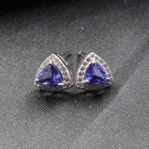 Shop Tanzanite Earrings! Natural Tanzanite earring, Sterling Silver, Silver Earring ,Tanzanite Engagement gift for women,Anniversary gift ring , Trillion cut 5*5 mm | Natural genuine Tanzanite earrings. Buy handcrafted artisan wedding jewelry.  Unique handmade bridal jewelry gift ideas. #jewelry #beadedearrings #gift #crystaljewelry #shopping #handmadejewelry #wedding #bridal #earrings #affiliate #ad
