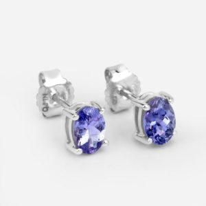 Shop Tanzanite Earrings! Tanzanite Earrings, Natural Tanzanite Oval Stud Earrings in .925 Sterling Silver, Silver Tanzanite Earrings, December Birthstone | Natural genuine Tanzanite earrings. Buy crystal jewelry, handmade handcrafted artisan jewelry for women.  Unique handmade gift ideas. #jewelry #beadedearrings #beadedjewelry #gift #shopping #handmadejewelry #fashion #style #product #earrings #affiliate #ad