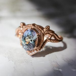Shop Tanzanite Rings! Tanzanite engagement ring, art nouveau ring, stacking ring, rose gold ring for woman, unique engagement, nature inspired ring, oval ring | Natural genuine Tanzanite rings, simple unique alternative gemstone engagement rings. #rings #jewelry #bridal #wedding #jewelryaccessories #engagementrings #weddingideas #affiliate #ad