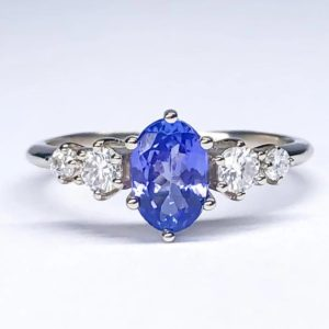 Tanzanite Engagement Ring Diamond Mossanite Ring 14k Gold Tanzanite Oval Engagement Diamond Alternative Engagement Ring made in your size | Natural genuine Array rings, simple unique alternative gemstone engagement rings. #rings #jewelry #bridal #wedding #jewelryaccessories #engagementrings #weddingideas #affiliate #ad