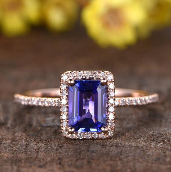 1.0ct Tanzanite Engagement Ring Rose Gold 5x7mm Emerald Cut Natural Blue Gemstone Ring Diamond Wedding Band Halo 14k Gift For Her