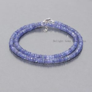 Shop Tanzanite Necklaces! Natural Tanzanite Beaded Necklace, 4.5-5mm Tanzanite Faceted Rondelle Beads Necklace, Tanzanite Necklace 18 Inch, AAA++ Tanzanite Jewelry | Natural genuine Tanzanite necklaces. Buy crystal jewelry, handmade handcrafted artisan jewelry for women.  Unique handmade gift ideas. #jewelry #beadednecklaces #beadedjewelry #gift #shopping #handmadejewelry #fashion #style #product #necklaces #affiliate #ad