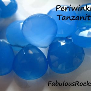 Shop Tanzanite Bead Shapes! CHALCEDONY Gemstone Heart Briolettes Beads / 5-20 pcs, 10.5-12 mm, Luxe AAA / PERIWINKLE Tanzanite Blue, bridal brides weddings 1012 solo | Natural genuine other-shape Tanzanite beads for beading and jewelry making.  #jewelry #beads #beadedjewelry #diyjewelry #jewelrymaking #beadstore #beading #affiliate #ad
