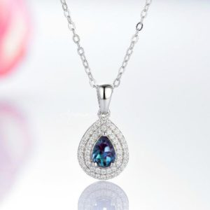Shop Alexandrite Necklaces! Teardrop Alexandrite Necklace- Sterling Silver Necklace- Double Halo Teardrop Pendant Necklace- June Birthstone- Anniversary Gift For Her | Natural genuine Alexandrite necklaces. Buy crystal jewelry, handmade handcrafted artisan jewelry for women.  Unique handmade gift ideas. #jewelry #beadednecklaces #beadedjewelry #gift #shopping #handmadejewelry #fashion #style #product #necklaces #affiliate #ad