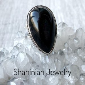 Shop Obsidian Rings! Teardrop Black obsidian ring silver 925 Natural black gemstone adjustable ring for women Armenian jewelry protection ring Gift for mother | Natural genuine Obsidian rings, simple unique handcrafted gemstone rings. #rings #jewelry #shopping #gift #handmade #fashion #style #affiliate #ad