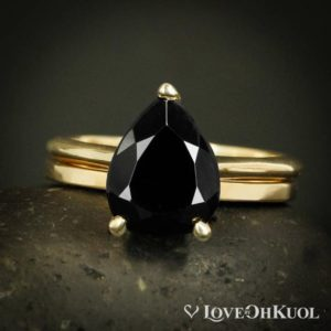 Shop Black Tourmaline Rings! Teardrop Black Tourmaline Ring – Prong Set – Flat Polished Wedding Band | Natural genuine Black Tourmaline rings, simple unique alternative gemstone engagement rings. #rings #jewelry #bridal #wedding #jewelryaccessories #engagementrings #weddingideas #affiliate #ad