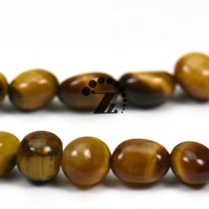 """Shop Tiger Eye Chip & Nugget Beads! Yellow Tiger Eye,15"""" full strand Natural Yellow Tiger Eye beads,pebble nugget beads,Beautiful beads, 5-8mm 