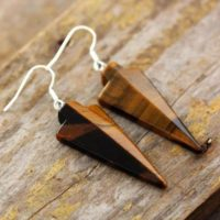 Tiger Eye Arrowhead Stone Dangle Earrings-healing Drop Earrings-inner Peace Meditation Grounding Balance Mental Health Earrings | Natural genuine Gemstone jewelry. Buy crystal jewelry, handmade handcrafted artisan jewelry for women.  Unique handmade gift ideas. #jewelry #beadedjewelry #beadedjewelry #gift #shopping #handmadejewelry #fashion #style #product #jewelry #affiliate #ad