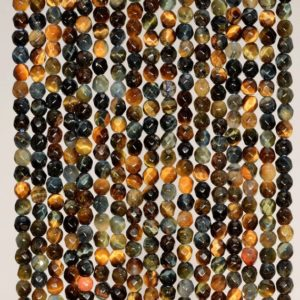 Shop Tiger Eye Faceted Beads! 3mm Blue Tiger Eye Hawk Eye Gemstone Micro Faceted Round Loose Beads 15.5 inch Full Strand (90184535-107) | Natural genuine faceted Tiger Eye beads for beading and jewelry making.  #jewelry #beads #beadedjewelry #diyjewelry #jewelrymaking #beadstore #beading #affiliate #ad