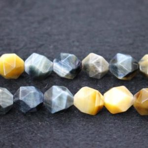 Shop Tiger Eye Faceted Beads! Natural Faceted Blue Golden Tiger's Eye Beads,Blue Golden Tiger's Eye Beads,6mm 8mm 10mm Star Cut Faceted beads,one strand 15"