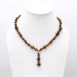 Shop Tiger Eye Necklaces! ON SALE Natural Tiger Eye Chips And Round Beaded Necklace, Tiger Eye Nuggets Beads Tassel Necklace, Boho Hippie Necklace Jewelry | Natural genuine Tiger Eye necklaces. Buy crystal jewelry, handmade handcrafted artisan jewelry for women.  Unique handmade gift ideas. #jewelry #beadednecklaces #beadedjewelry #gift #shopping #handmadejewelry #fashion #style #product #necklaces #affiliate #ad