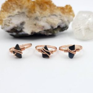 Blue Tiger's Eye Ring, Copper Wire Wrapped Hawk's Eye Ring | Natural genuine Gemstone rings, simple unique handcrafted gemstone rings. #rings #jewelry #shopping #gift #handmade #fashion #style #affiliate #ad