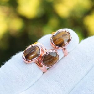 Shop Tiger Eye Rings! Gold tiger eye ring, Copper ring Electroformed copper jewelry raw crystal ring earthy ring organic jewelry magical ring   Natural genuine Tiger Eye rings, simple unique handcrafted gemstone rings. #rings #jewelry #shopping #gift #handmade #fashion #style #affiliate #ad