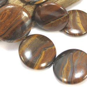 Tiger Iron Beads, Two (2) Natural Tiger Iron Beads, 30mm Flat Round Beads, Brown Gemstone Beads, Designer Quality Beads, Item 886gss | Natural genuine beads Tiger Iron beads for beading and jewelry making.  #jewelry #beads #beadedjewelry #diyjewelry #jewelrymaking #beadstore #beading #affiliate #ad