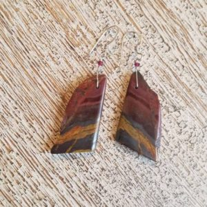 Shop Tiger Iron Earrings! Tiger iron earrings. Nugget tiger's eye – faceted rhodolite garnet accent, S.S.  Natural gemstones. organic boho style- earth tones- | Natural genuine Tiger Iron earrings. Buy crystal jewelry, handmade handcrafted artisan jewelry for women.  Unique handmade gift ideas. #jewelry #beadedearrings #beadedjewelry #gift #shopping #handmadejewelry #fashion #style #product #earrings #affiliate #ad