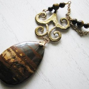 Shop Tiger Iron Pendants! Tiger iron pendant necklace – bohemian gemstone, tigers eye stone, chunky statement, teardrop | Natural genuine Tiger Iron pendants. Buy crystal jewelry, handmade handcrafted artisan jewelry for women.  Unique handmade gift ideas. #jewelry #beadedpendants #beadedjewelry #gift #shopping #handmadejewelry #fashion #style #product #pendants #affiliate #ad