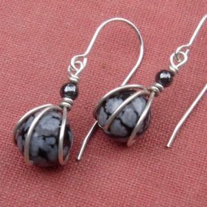 Shop Snowflake Obsidian Jewelry! Tiny Snowflake Obsidian Earrings, Gift for Her Sterling Silver Wire Wrapped Jewelry, Small Stone Jewelry, Small Stone Earrings | Natural genuine Snowflake Obsidian jewelry. Buy crystal jewelry, handmade handcrafted artisan jewelry for women.  Unique handmade gift ideas. #jewelry #beadedjewelry #beadedjewelry #gift #shopping #handmadejewelry #fashion #style #product #jewelry #affiliate #ad