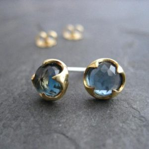 Blue topaz studs, 14k gold studs, london blue topaz rose cut jewelry, genuine gemstone,  thorn setting, blue studs, 7 mm | Natural genuine Topaz earrings. Buy crystal jewelry, handmade handcrafted artisan jewelry for women.  Unique handmade gift ideas. #jewelry #beadedearrings #beadedjewelry #gift #shopping #handmadejewelry #fashion #style #product #earrings #affiliate #ad