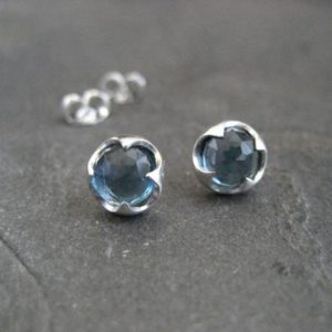 London blue topaz, stud earrings, rose cut, genuine gemstone, faceted blue topaz, thorn setting, silver studs, brushed silver, 7 mm | Natural genuine Topaz earrings. Buy crystal jewelry, handmade handcrafted artisan jewelry for women.  Unique handmade gift ideas. #jewelry #beadedearrings #beadedjewelry #gift #shopping #handmadejewelry #fashion #style #product #earrings #affiliate #ad