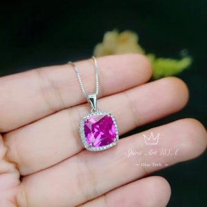 Shop Topaz Necklaces! 6CT Fuchsia Pink Topaz Necklace Large Diamond Square Sterling Silver White Gold Plated Jewelry | Natural genuine Topaz necklaces. Buy crystal jewelry, handmade handcrafted artisan jewelry for women.  Unique handmade gift ideas. #jewelry #beadednecklaces #beadedjewelry #gift #shopping #handmadejewelry #fashion #style #product #necklaces #affiliate #ad