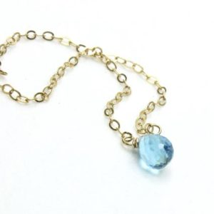 Shop Topaz Necklaces! Genuine Swiss Blue Topaz Necklace Sterling Silver or Gold Filled wire wrapped natural gemstone dainty drop December birthstone gift 5827 | Natural genuine Topaz necklaces. Buy crystal jewelry, handmade handcrafted artisan jewelry for women.  Unique handmade gift ideas. #jewelry #beadednecklaces #beadedjewelry #gift #shopping #handmadejewelry #fashion #style #product #necklaces #affiliate #ad