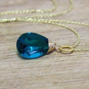 Shop Tourmaline Pendants! Pear Paraiba Teal Tourmaline Gem Briolette Dangle Pendant 14K Yellow Gold Filled , October Birthstone , Wire Wrapped, Wedding , Bridal | Natural genuine Tourmaline pendants. Buy handcrafted artisan wedding jewelry.  Unique handmade bridal jewelry gift ideas. #jewelry #beadedpendants #gift #crystaljewelry #shopping #handmadejewelry #wedding #bridal #pendants #affiliate #ad