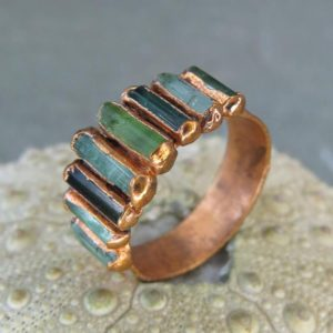 Shop Green Tourmaline Rings! Tourmaline birthstone ring, green crystal ring, october birthday ring, birthstone dainty gift ring | Natural genuine Green Tourmaline rings, simple unique handcrafted gemstone rings. #rings #jewelry #shopping #gift #handmade #fashion #style #affiliate #ad