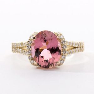 Shop Tourmaline Rings! Smoky Pink Oval Tourmaline Ring | Natural genuine Tourmaline rings, simple unique handcrafted gemstone rings. #rings #jewelry #shopping #gift #handmade #fashion #style #affiliate #ad