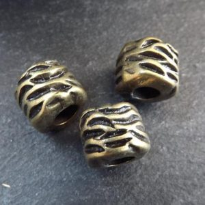 Shop Beads With Large Holes! Tube Beads, Wavy Wrap Barrel Bead, Large Bronze Statement Beads, Bracelet Bead Spacer, Large Hole, Antique Bronze Plated, 3pc | Shop jewelry making and beading supplies, tools & findings for DIY jewelry making and crafts. #jewelrymaking #diyjewelry #jewelrycrafts #jewelrysupplies #beading #affiliate #ad