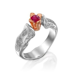 Tulip Engagement Ring, Ruby 14K Rose Gold Ring, Flower Wedding Ring 14K, Nature inspired Ring,Red Gemstone Engagement Ring, Ruby Floral ring | Natural genuine Array rings, simple unique alternative gemstone engagement rings. #rings #jewelry #bridal #wedding #jewelryaccessories #engagementrings #weddingideas #affiliate #ad
