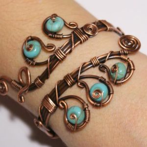 Turquoise Bracelet, Turquoise Cuff Bracelet, Copper Bracelet, Copper Jewelry, Copper Cuff Bracelet, Wire Wrapped Jewelr Handmade Bracelet | Natural genuine Gemstone jewelry. Buy crystal jewelry, handmade handcrafted artisan jewelry for women.  Unique handmade gift ideas. #jewelry #beadedjewelry #beadedjewelry #gift #shopping #handmadejewelry #fashion #style #product #jewelry #affiliate #ad