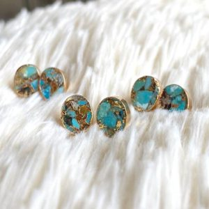 Genuine Turquoise Earrings, turquoise Earrings Studs, turquoise Studs Earrings, turquoise Jewelry, raw Stone Earrings, turquoise Earrings Gold | Natural genuine Gemstone earrings. Buy crystal jewelry, handmade handcrafted artisan jewelry for women.  Unique handmade gift ideas. #jewelry #beadedearrings #beadedjewelry #gift #shopping #handmadejewelry #fashion #style #product #earrings #affiliate #ad