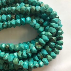 """Shop Turquoise Faceted Beads! Stabilized Turquoise 12x6mm Faceted Rondelle Gemstone Beads–15.5"""" 