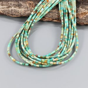 "Turquoise Tube Heishi Beads, 2mm Green Turquoise, Natural American Turquoise, Turquoise 15"" Strand, green turquoise heishi beads for jewelry 
